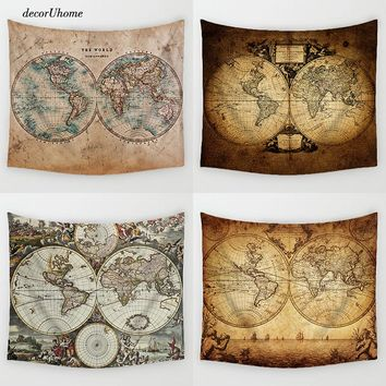 DecorUhome Vintage Decoration World Maps Retro Cartoon Sailing Maps Beach Towel Home Decor Hanging Living Printing Wall Tapestry