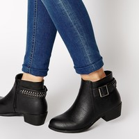 New Look Dusty Black Ankle Strap Flat Boots