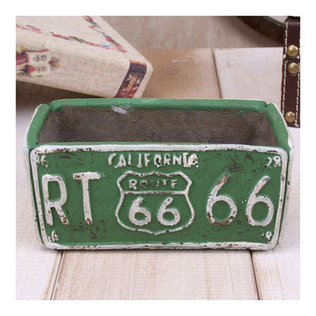 Vintage Route 66 Ashtray Car Plate Ashtray Succulent Pot    green