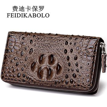 3 D Embossing Alligator Fashion Crocodile Long Clutch Wallets Men Double Zipper Leather Men's Purse Business Carter's