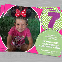 Printable Photo Pink and Green Girl Birthday Party Invitations! Custom Personalized Invitations. Choose Your Size 4x6 or 5x7