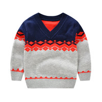 Hot Infant Sweater Warm Cotton Coat Toddler Pullover Sweaters New Geometric Outfits V Neck Baby Boy Clothes Winter Baby Clothing