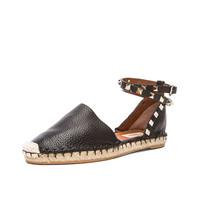 Valentino Rockstud Double Flat Leather Espadrilles in Black | FWRD