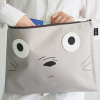 Super Cute Gray Totoro iPad sleeve / iPad case / iPad Pro cover , Cute Handbag, Totoro Case, with Zip, Handmade ipad case, Handmade totoro