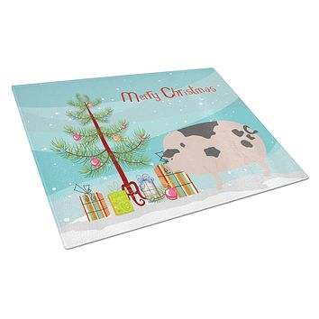 Gloucester Old Spot Pig Christmas Glass Cutting Board Large BB9307LCB
