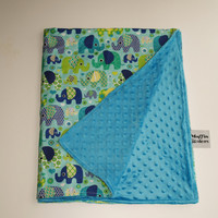 Baby Blanket minky double sided quilt soft crib elepanhts