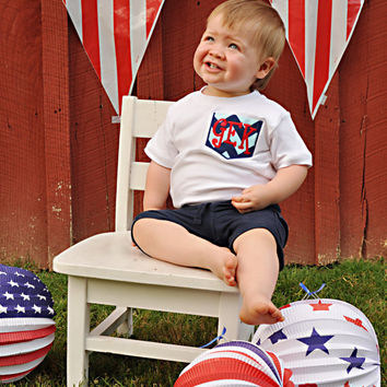 Pocket Tee Shirt for Boys -- Patriotic shirt -- 4th of July shirt or bodysuit -- chevron fabric, red, white and blue with initial monogram