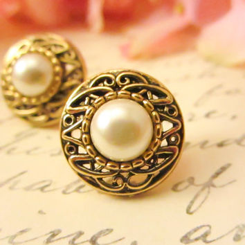 Antique Gold Pearl Earrings  by Reneeloveandco