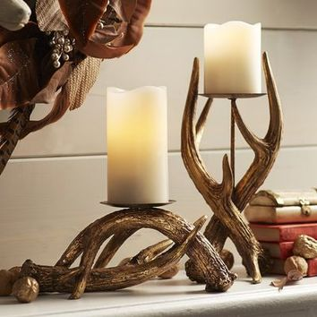 Gold Antler Pillar Candle Holders