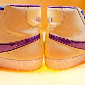 Women's Size 6 Light Grey & Blurple 80's Vintage NIKE Shoes