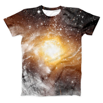 The Golden Space Swirl ink-Fuzed Unisex All Over Full-Printed Fitted Tee Shirt