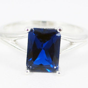 Blue Sapphire Emerald Cut Ring Sterling Silver, September Birthstone Ring, Emerald Cut Blue Sapphire Ring, 925 Sapphire Ring