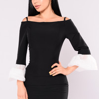 Haidee Off The Shoulder Dress - Black