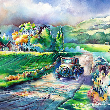 Country Road- Old Dirt Road Watercolor Landscape Art Print. Classic Car. Farm House Painting. Barn. Green. Yellow. Old Car Print. Rural.
