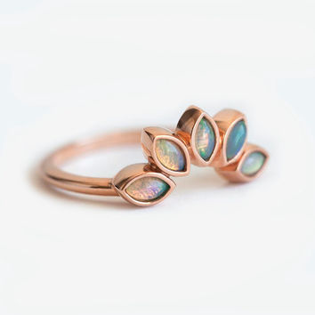 Opal Wedding Ring, Opal Wedding Band, Sun ring, Opal Sun Ring, Rose Gold Opal Ring, Matching Opal Band, Five Stone Band, Five Stone Ring