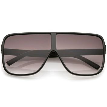 Oversize  Flat Top Square Sunglasses With Neutral Color Flat Lens 69mm