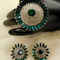 Vintage Large Round Clear Rhinestone and Green Baguette Brooch and Earrings