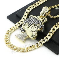 ICED OUT BIG LIL UZI CARTOON PAVE ROPE CHAIN DIAMOND CUT CUBAN CHAIN NECKLACE 60