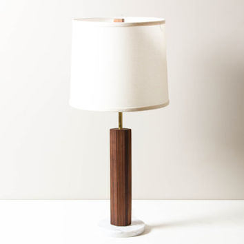 Marble Base Pillar Lamp- Modern Table Lamp, Table Top, Wooden Lighting, Marble