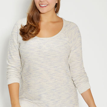 plus size marled knit pullover with metallic stitching