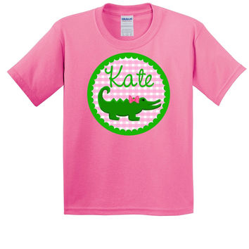 Gingham Alligator on Personalized Pink T-Shirt