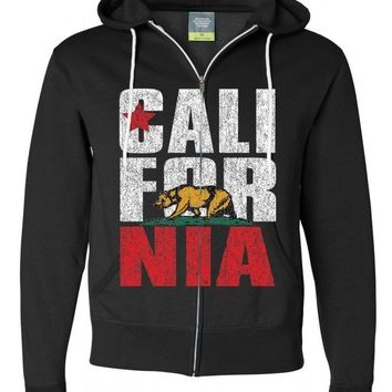 California Flag Vintage Retro Text Zip-up Hoodie Asst Colors