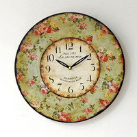Pastoral Style Wall Sticker Quiet Thicken Clock [4914942084]