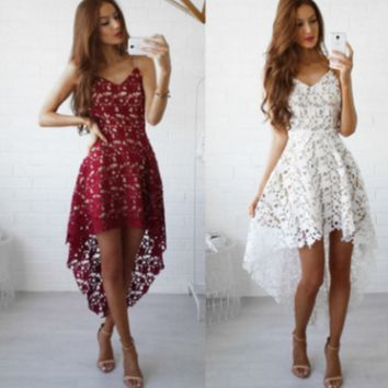 Hot sale fashion sexy straps lace irregular long dress