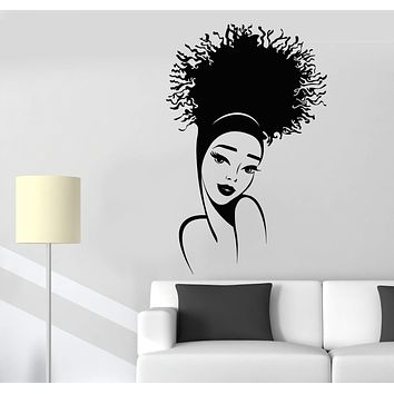 Vinyl Wall Decal Beautiful Girl Face African Hairstyle Top Model Stickers (3103ig)