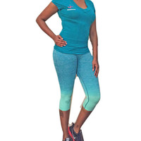 Women's Ombre Capri Yoga Leggings