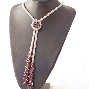 Necklace -lariat  with purple garnet beads ,bead crochet ,rope jewelry, plus size fashion ,seed bead lariat, beadwork