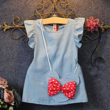 Minnie Mouse Sleeveless Dress Ruffles Demin Casual Dresses 1-5Y