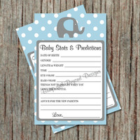Printable Baby Stats and Predictions for Baby diy Baby Shower Game Advice Card Instant Download Boy Elephant Powder Blue Grey - 013