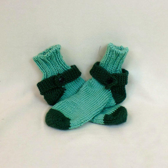 Thick House Socks - Green Tube Slippers - From ...