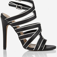 COLOR BLOCK MULTI-STRAP RUNWAY HEELED SANDAL from EXPRESS