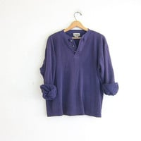 vintage long sleeve purple top. button front henley. thermal shirt