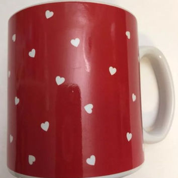 Burton & Burton Red Mug w/ White Hearts Polka Dots Cup Coffee Tea 3 5/8 inches