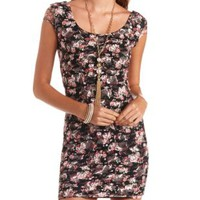Floral Print Lace Bodycon Dress by Charlotte Russe - Black Combo