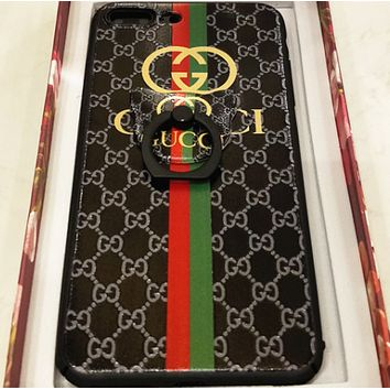 Gucci color striped bees plusiphone6s7 fall couple mobile phone shell