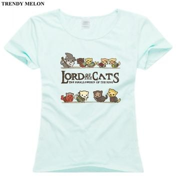 Trendy Melon Fashion Cartoon Printed T shirt Women Lord of The Rings Cats Funny T-shirt Cotton Top Casual Short Sleeve Tee WAA07