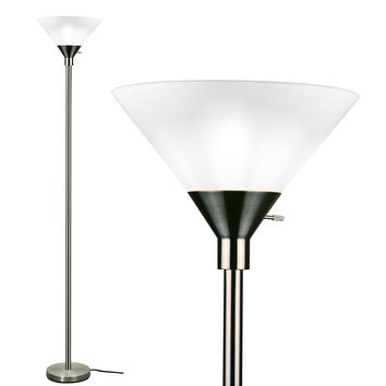 METRO Floor Lamp Torchiere - Metal with White Plastic Shade (Brushed Nickel)