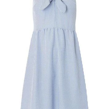 Blue Bow Front Midi Skater Dress | Dorothyperkins