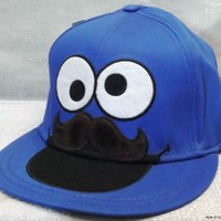 Sesame Street COOKIE MONSTER Big Face w/Mustache Snap-Back Baseball CAP/ HAT