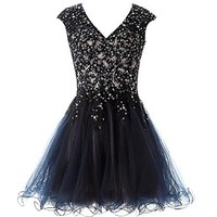 Mic Dresses Women's A-line Short Flounced Applique Sequins Prom Dresses