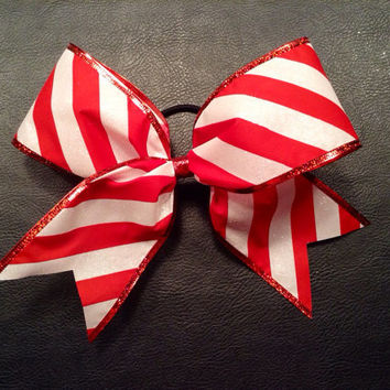 Red and white candy cane striped Christmas cheer bow
