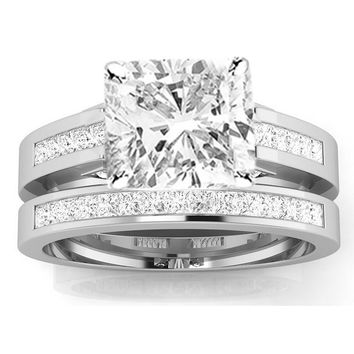 CERTIFIED | 1.45 Ctw 14k White Gold Channel Set Princess Cut Engagement Ring w/ Cushion 1 Carat Forever One Moissanite Center (Platinum, Yellow, White, Rose)