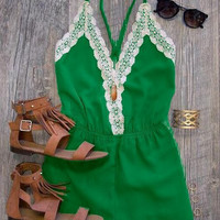 Lace Patchowork Chiffon Strappy Romper