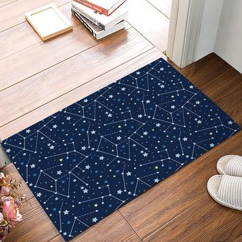 Blue Constellation Star Door Mats Kitchen Floor Bath Entrance Rug Mat Absorbent Indoor Bathroom Rubber Non Slip