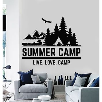 Vinyl Wall Decal Summer Camp Live Love Words Mountain Nature Stickers Mural (g844)