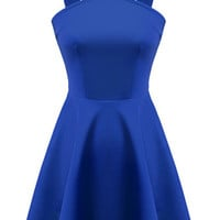Blue Strap Backless Flouncing Dress
